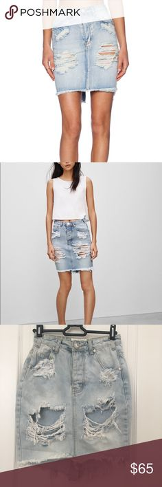 One Teaspoon 2020 Destroyed Ripped Denim Skirt 24 One Teaspoon 2020 Destroyed Ripped Denim Skirt 24. New without tags. Bought this skirt, took the tags off and washed it and realized I ordered the wrong size ☹️ no trades. Listed elsewhere One Teaspoon Skirts