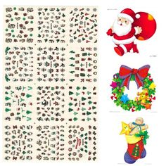 BTArtbox 1 Pack Glitter Nail Art Stickers Best Christmas Gift SANTASNOWMAN Deer 12 Different Designs Nail Tattoo 043 * Click on the image for additional details. Note:It is Affiliate Link to Amazon.