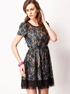 VIRO Skater Dress With Lace Detailing by koovs.com