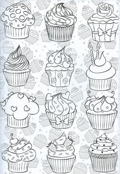 Patisserie doodles for your bullet journal Doodle Drawings, Easy Drawings, Doodle Art, Sketch Note, Cupcake Drawing, Cute Doodles, Digi Stamps, Coloring Book Pages, Mandala Art