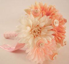 PEACHY PINK Vintage Button Embellished Mum by ZoeGraceBlooms, $30.00