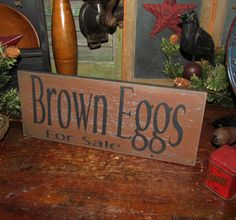 Primitive Antique Vtg Style Retro Wood Market Brown Eggs for Sale Wall Sign #NaivePrimitive