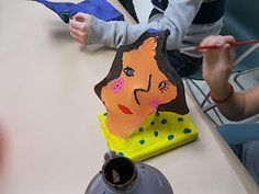 Panty hose sculptures are always fun to make and paint.  Take a small block of wood drilling a small hole to secure the ends of a coat hanger.  Student shapes the coat hanger and then covers with a hose.