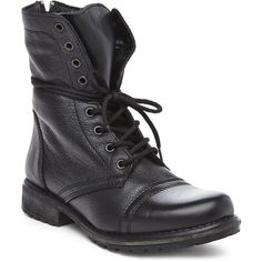 STEVE MADDEN Black Fame Combat Boots (105 CAD) ❤ liked on Polyvore featuring shoes, boots, ankle booties, blacks, black military boots, black army boots, lace-up ankle booties, low heel booties and military boots