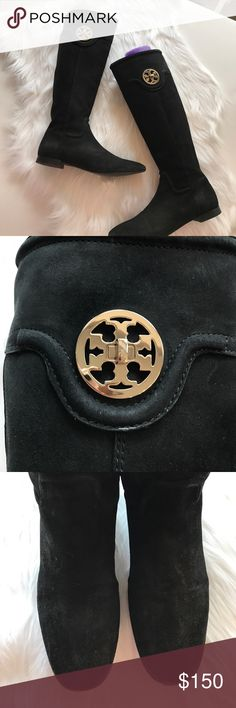 Tory Burch Suede Selma Boots Classic Tory Burch Boot // used condition see photos ! Still beautiful - a lot of life left ! Tory Burch Shoes Heeled Boots