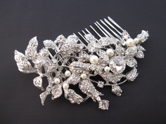 Large crystal hair comb from etsy