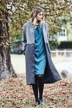 Cerys Dress made in the most comfortable crepe, featuring three quarter length sleeves and flattering drape effect from the neck.  Also with the Corrine Long Wool Blend coat.