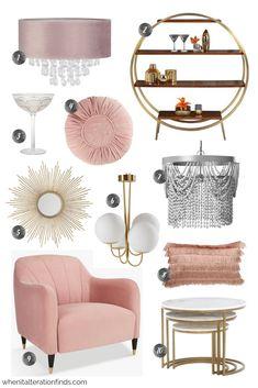art deco furniture Home Decor Trends - Blush Pink Art Deco Art Deco Living Room, Art Deco Bedroom, Bedroom Decor, Bedroom Furniture, Bedroom Ideas, Farmhouse Furniture, Bedroom Bed, Living Rooms, Art Deco Decor