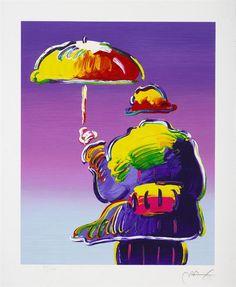 """Umbrella Man"" by Pop artist Peter Max - Park West Gallery"