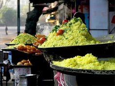 """Poha-Jalebi: Indore, The biggest city and commercial capital of the state called """"heart of India"""" Madhya Pradesh. Indore is most popular for its culinary rang and well known for wide range of namkeens, samosa, chaats, lapsi and the best one bafla. Poha-Jalebi is the best street food and the specialty of Indore served with sev & nukti and with jalebi. Indore felt proud of the poha and jalebi being the best in the world."""