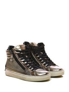 Crime - Sneakers - Donna - Sneaker in pelle laminata e pelle laminata stampa…