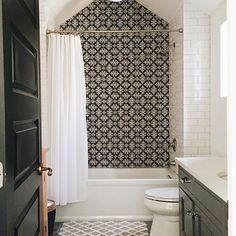 When cement tile is out of the budget...go porcelain! #bathroom #remodel #porcelaintile #fauxcement