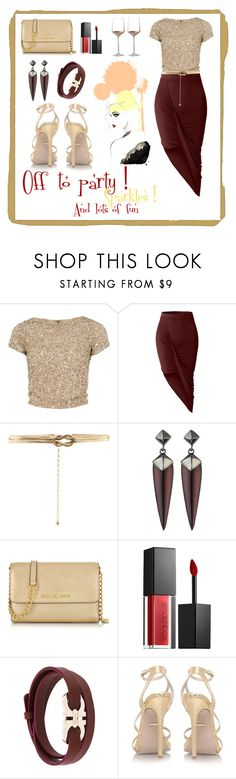 """Party night ! ✨"" by alolika-chk ❤ liked on Polyvore featuring Alice + Olivia, LE3NO, Accessorize, Alexis Bittar, Michael Kors, Smashbox, Salvatore Ferragamo and Wedgwood"