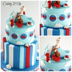 Super cute two tier aeroplane themed birthday cake with fondant plane topper and 3D clouds. www.facebook.com/cakingitup