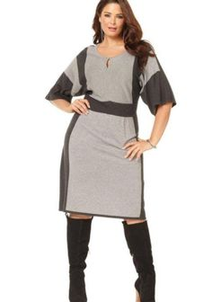 Spense Plus Size Dress, Elbow-Sleeve Colorblocked Keyhole Sweater Plus Size Dresses, Plus Size Outfits, Nice Dresses, Dresses For Work, Over 50 Womens Fashion, Plus Size Fashion For Women, Women's Fashion, Womens Clothing Online Canada, Outfit