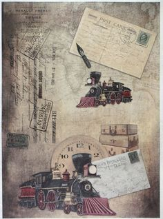 Ricepaper for Decoupage Decopatch Scrapbook Craft Sheet A/3 Vintage Old Trains