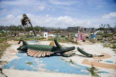 Broken miniature golf pieces in the ruins of Biloxi, Mississippi coast after hurricane Katrina