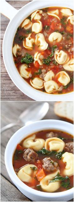 Italian Sausage Tortellini Soup Recipe on twopeasandtheirpod com This soup is easy to make and always a favorite Crockpot Recipes, Soup Recipes, Cooking Recipes, Healthy Recipes, Beans Recipes, Recipies, Pasta Recipes, Italian Sausage Tortellini Soup, Sausage Soup