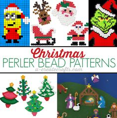 Christmas Perler Bead Patterns - find popular characters, nativity scene, decorate Christmas trees and more!
