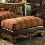 AICO Furniture - Toscano Wood Trim Leather Ottoman in Brick - 34977-BRICK-26  SPECIAL PRICE: $839.00