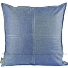 New Modern Denim Blue Check Decorative Cafe Home Pillow Case Cushion Cover Sham