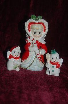 Vintage Christmas Spaghetti Angel Candy Cane Girl Snowmen Figurine Napco Lefton