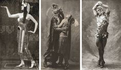 Pictured from left, Lubov Tchernicheva portrays Cleopatra in the Balanchine ballet Caesar and Cleopatra, ca. an undated photo of Adolph Bolm and Tamara Karsavina in Schéhérazade; and Vaslav Nijinsky in Le Spectre de la rose, via The Line Sonia Delaunay, Caesar And Cleopatra, Ballet Russe, Ballet Photos, Dance Music, Dance Costumes, Van Gogh, Egyptian, Statue