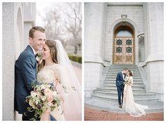 Bride in a modest wedding dress at the Salt Lake Temple by Utah wedding photographer Brooke Bakken