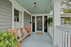 front porches painted green and tan - Yahoo Image Search Results Paint the Ceiling too! Outside Living, Outdoor Living, Haint Blue, Porch Paint, Colored Ceiling, Ceiling Color, Porch Ceiling, Outdoor Spaces, Outdoor Decor