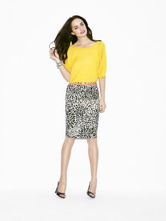Love a bold top with a bold print! I especially love the skirt, but would use a hot pink top, maybe, instead of the yellow. (Yellow makes me look tired.)