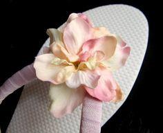 Flower Flip Flops  Pink and Cream Blossoms  by PetalnPearlBoutique