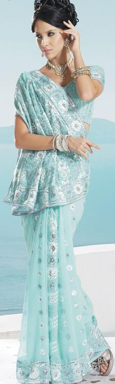 $61.74 Aqua Blue Faux Georgette Embroidery Saree 16672 With Unstitched Blouse