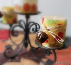 Embellished Decoupaged Thanksgiving Candles Tutorial (#TurkeyTableScapes) | Craft Test Dummies