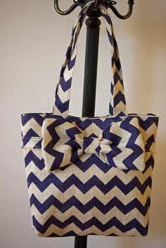 Dark Purple and Cream Burlap Bag Tote Purse with by ByAliceMadden, $25.00