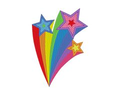Shooting Stars Rainbow Tail Comet Wishing Stars Embroidery Machine Design by OCDEmbroidery on Etsy