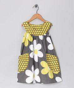 Take a look at this Gray Big Daisy Pocket Yoke Dress - Toddler & Girls by SILLY MILLY on #zulily today!