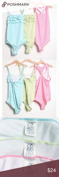 Bundle of 3 Bathing Suits Lands' End One Piece Lands' End Kids  Lot of 3      Size 14     One Piece     The floral ones are adjustable strap and excellent pre-loved condition     The striped pink has sign of wear     Please see the pictures  Thank you for looking my item.  Please check out my other items!!! Lands' End Swim One Piece