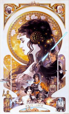 art nouveau Star Wars..... I have this on a shirt from www.heruniverse.com , check out the website and look at all the geeky girl clothes they have!!