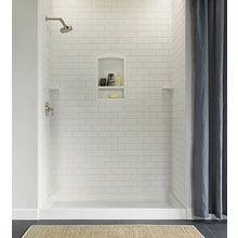 "View the Swanstone STMK96-3648 Subway 36"" x 48"" Shower Wall Tile Kit at Build.com.  COLOR: MOUNTAIN HAZE, with seat & grab bars."