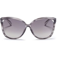 Linda Farrow 'Unique' metallic snakeskin temple oversize cat eye... ($550) ❤ liked on Polyvore featuring accessories, eyewear, sunglasses, grey, linda farrow sunglasses, metallic glasses, oversized cat eye glasses, cateye glasses and oversized cateye sunglasses