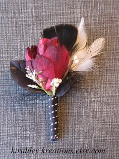 SEVANN  Dark Red Black and White Rose Feather Boutonniere by KirahleyKreations, $14.00 / Tim Burton