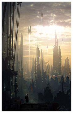 Insane Fantasy / Sci-fi Art by Raphael Lacoste Future City 7 Fantasy City, Fantasy Places, Fantasy World, Sci Fi Stadt, Sci Fi Kunst, Science Fiction Kunst, Arte Sci Fi, Sci Fi City, New Retro Wave