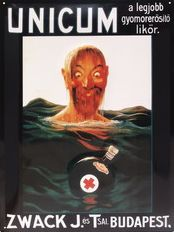 Zwack Unicum poster from 1915 shipwrecked man with a happy survival bottle