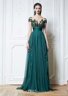 Zuhair Murad Dark Green Chiffon Evening Dresses Appliques Beads Pleat Sheer Short Sleeves Long Arabic Dress 2015 Dubai Arabic Prom Gowns