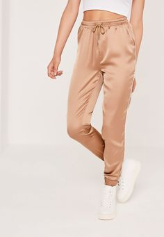 Missguided - Satin Cuffed Joggers Rose Gold