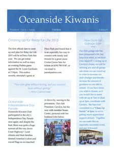 July, 2015 Newsletter Cover