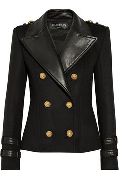 Balmain | Leather-trimmed wool and cashmere-blend jacket | NET-A-PORTER.COM