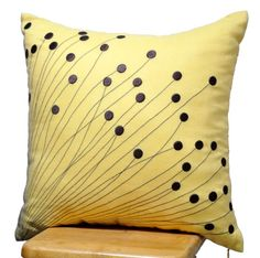 accent pillows with yellow and brown | Yellow Flower Burst Pillow Cover,Decorative Pillow for Couch, Brown ...