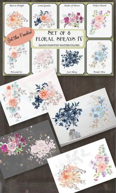 Sprays and posies in hand painted watercolors; coral, pastel, pink, blush, blue and navy flowers. Coral Garden, Navy Flowers, Pastel Shades, Fire And Ice, Watercolor Techniques, Art Floral, Shade Garden, Sprays, Clip Art