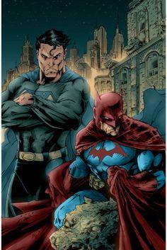 Superman And Batman decide to switch colors for patrol. Art done by Superman And Batman trade colors Comic Book Characters, Comic Character, Comic Books Art, Comic Art, Arte Dc Comics, Dc Movies, Superbat, Batman Vs Superman, Comics Universe